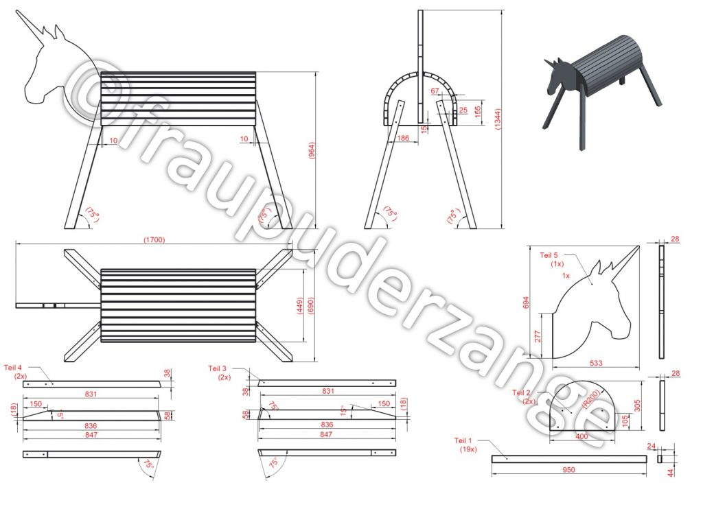 DIY Holzpferd Einhorn VOLTIGIERPFERD 32